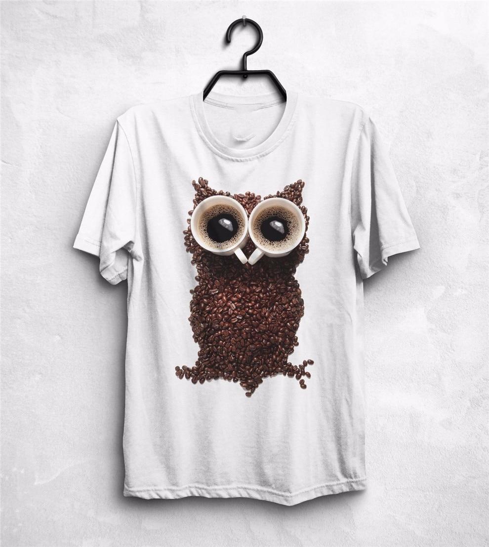 Camiseta café búho Top frijoles animales Robusta Arábica Hipster Geek Nerd divertido regalo completo camiseta