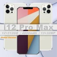 2021 global version i12 pro max 7 2 12gb 512gb 4g lte octa cores 4800mah 1332mp camera dual sim android smartphone celular