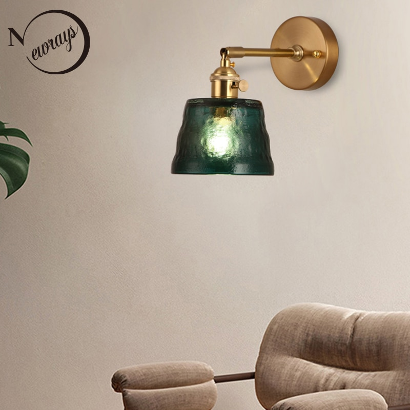 Lámpara LED de pared de estilo japonés 220V E27, decoraciones de interior verde oscuro, luz de pared de cristal de latón para sala de estar, dormitorio, mesita de noche, Bar