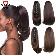 MANWEI-extensiones de cabello sintético para mujer, pelo corto y liso, color rubio, negro, cola de caballo pequeña, accesorios para el cabello
