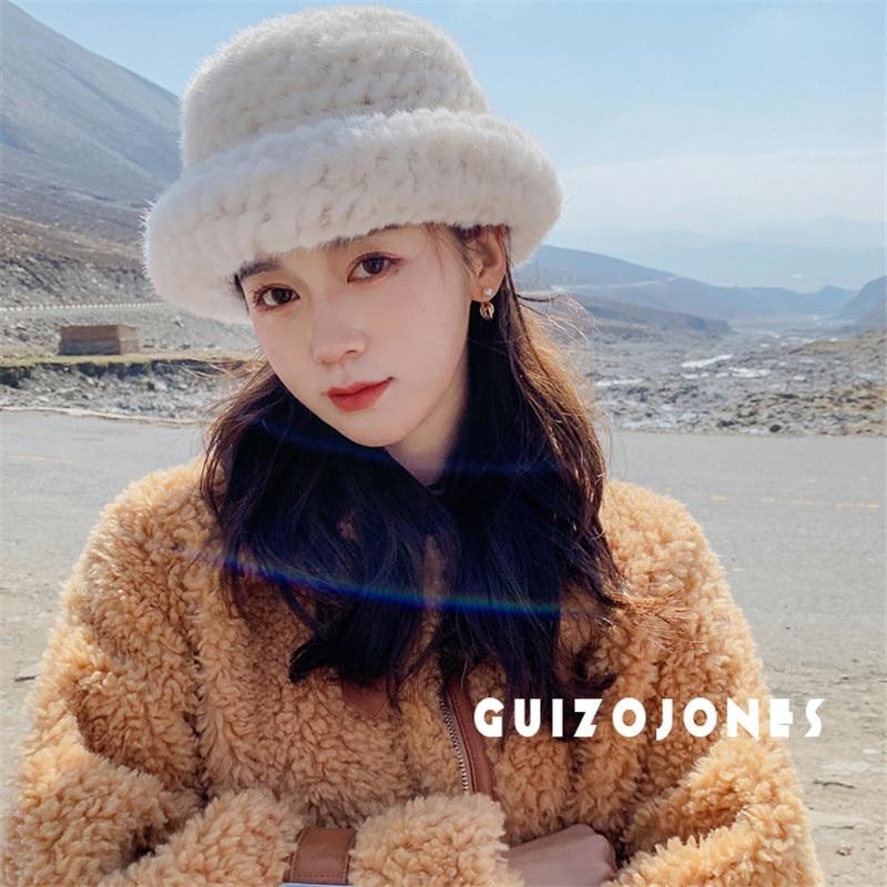 Promotional Fur Insulation Quality Women′s Winter Hats Fashion Mink Fur Knitting Cuffed Beanies Women′ Hats
