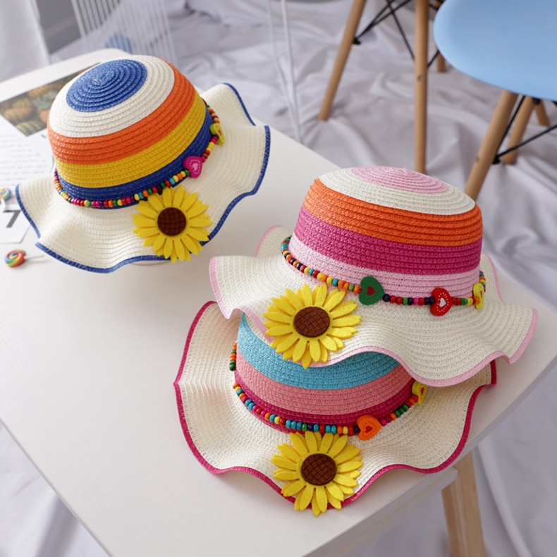 Summer Kids Straw Hats Colorful Flower Princess Baby Girls Hat Children Breathable Sunscreen Beach Sun Hat For 2-7Y girls flower decorated straw hat