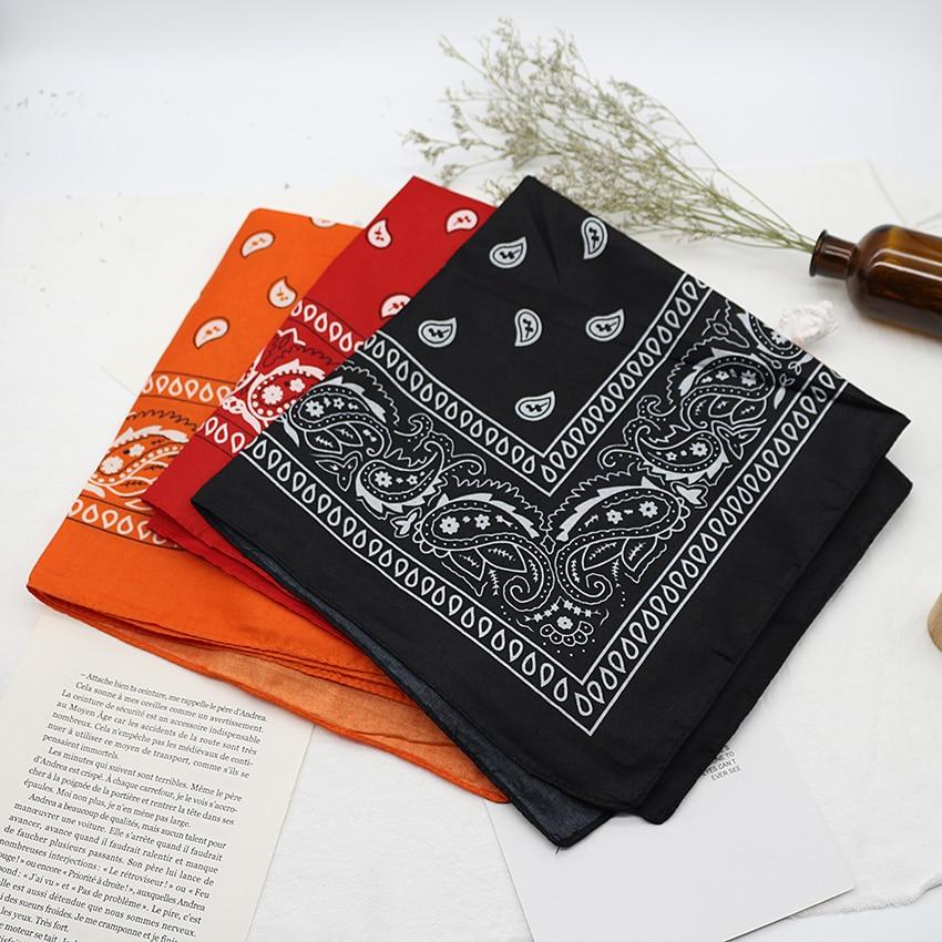 Банданова хустка унісекс хіп-хоп, чорна стрічка для волосся, шийний шарф, спортивні головні убори, обгортання на зап'ястя, головні квадратні шарфи, хустка з принтом