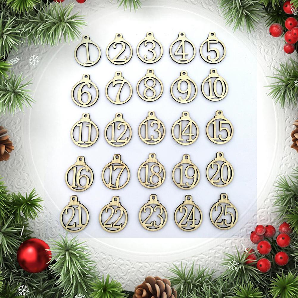 25 uds. Calendario de Navidad 1-25 Calendario de Adviento de madera Navidad etiquetas de regalo número fiesta en casa decoraciones de Navidad Calendario de Adviento