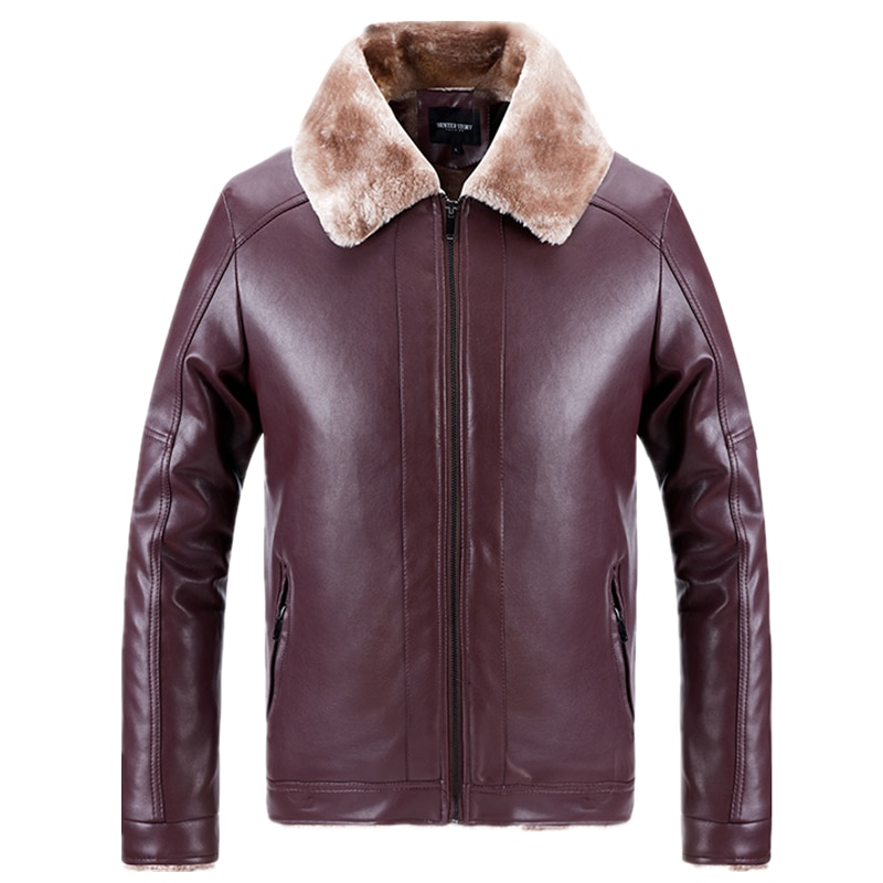 AIOPESON Fleece Leather Jackets Men Casual Warm Outerwear Zipper PU Motorcycle Jacket New Winter Fur Collar Mens