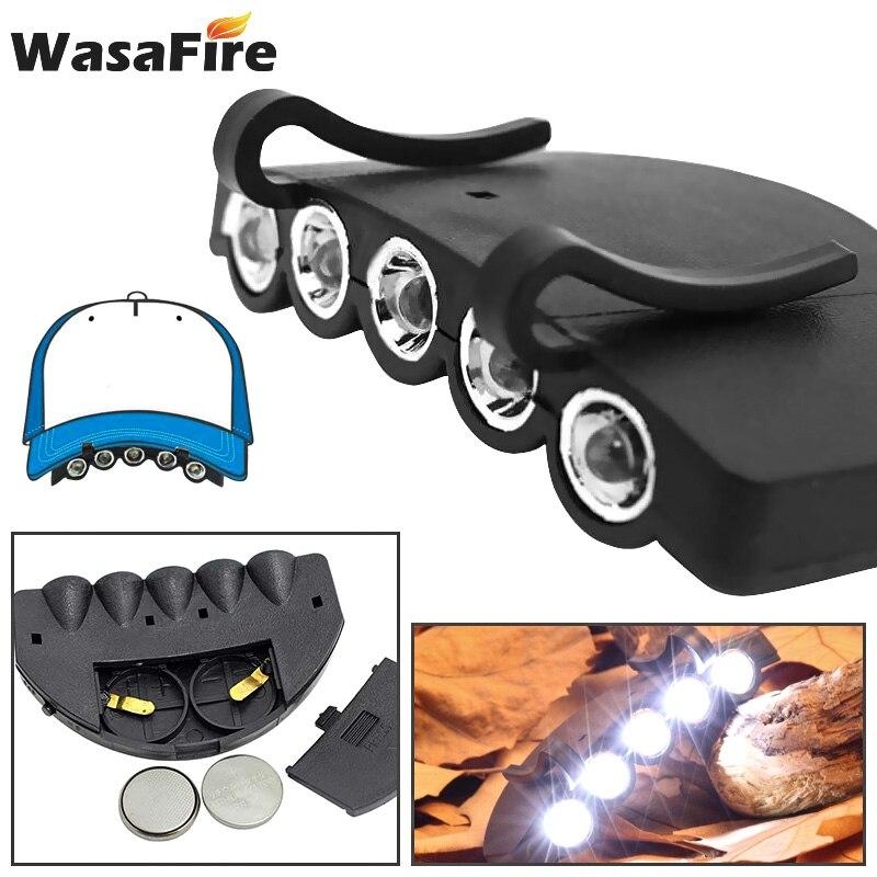Mini linterna de cabeza linterna Frontal gorra sombrero Clip-On antorcha con batería brillante linterna para cabeza para pesca Camping Running
