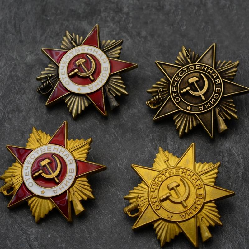Calidad superior, Medalla de la guerra patriótica de la Unión Soviética CCCP Nivel 1, emblema militar de la Estrella Roja de latón, éxitos gloriosos, insignia de Honor de la URSS