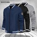 Мужская куртка-бомбер, осенняя мода 2021, повседневные однотонные приталенные пальто, мужская верхняя одежда, Новое поступление, бейсбольная куртка, Мужская Верхняя одежда 4XL - фото