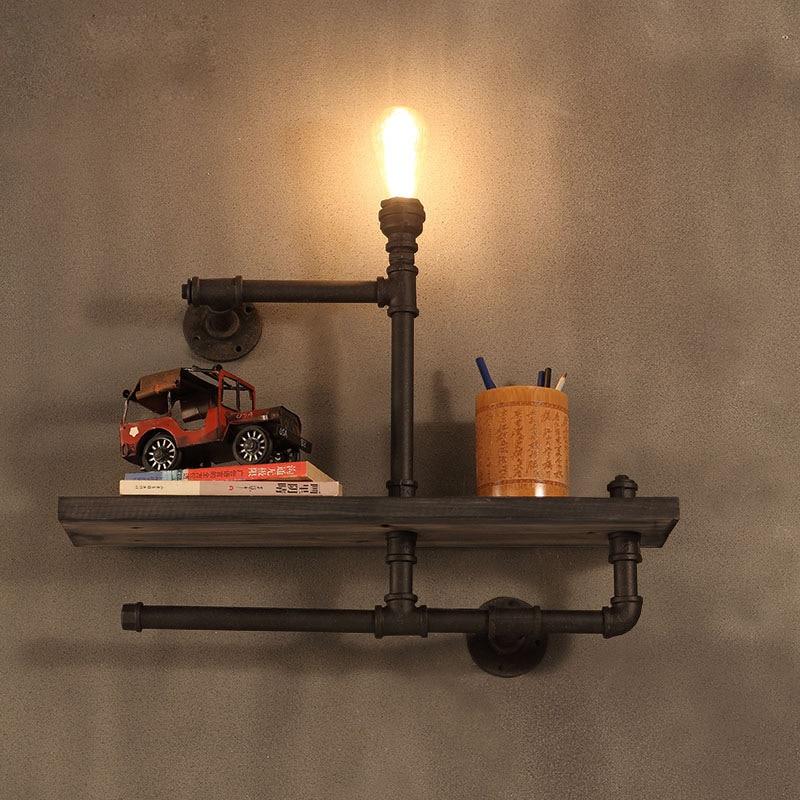 البخار الصناعي فاسق انبوب ماء الجدار مصباح الأمريكية لوفت ضوء خمري دراسة بار دراسة السرير رف واحد الخشب جدار Sonce