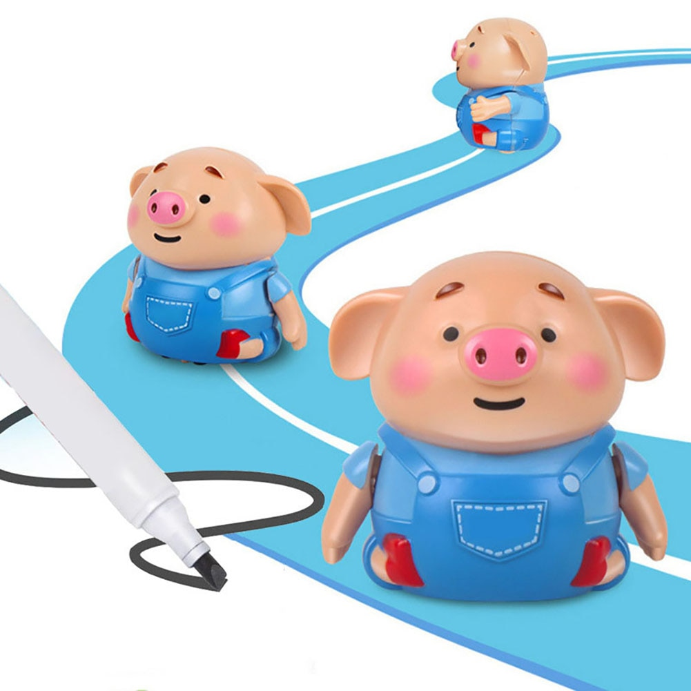Pluma mágica de juguete de cerdo inductivo inteligente seguir cualquier línea dibujada lindo cerdo modelo de música juguetes eléctricos para niños juguete educativo