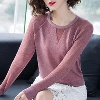 spring bright silk knit sweater spring and autumn 2021 new hollow thin ladies sweater slim short western style blouse