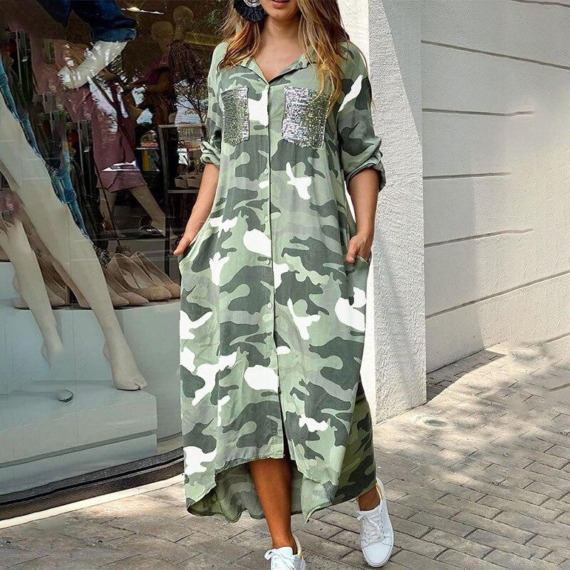 فستان بطبعة التمويه والترتر ، فستان ماكسي بتصميم الجيب ، غير متماثل ، غير رسمي ، شخصية ، ملابس نصف كم ، صيفي