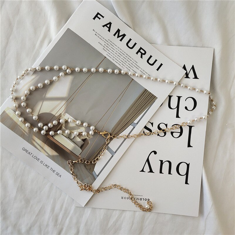 Waist Chain Ladies Decoration Thin Belt Simple Versatile Dress Metal Pearl Connection Fashion Small