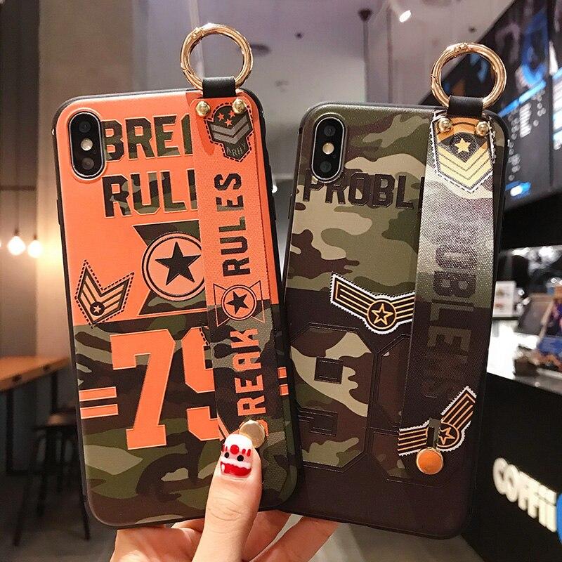 Mignon camouflage coque de téléphone Pour iphone XR étui pour iphone 11pro max XS MAX X 6 6S 7 8 plus Fleur Floral Dragonne Couverture de Support