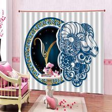 Rideaux de mouton de dessin animé   Rideaux de mouton bleus personnalisés pour salon et chambre à coucher, rideau de géométrie pour rideaux dintérieur à la maison (côté gauche et droit)