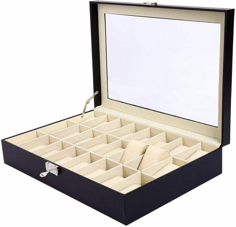 24 Slots Men Women Watch Box Top Jewelry Storage Display Durable Case - Black
