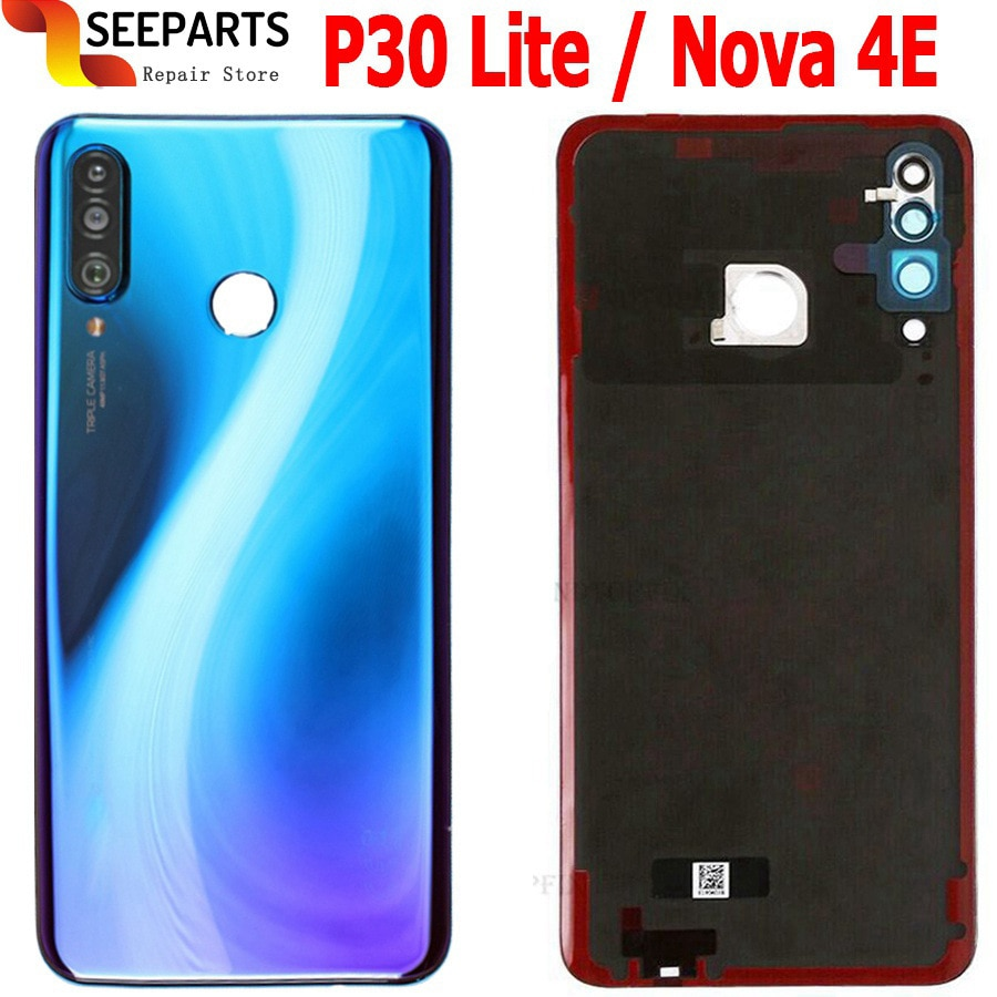 New For Huawei Nova 4e Back Battery Cover Glass Rear Door Housing Case 6.15