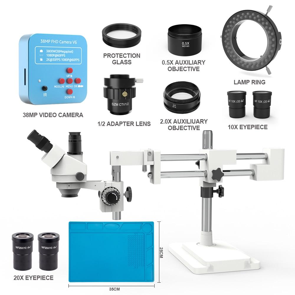 3.5X -180X سيمول البؤري المزدوج بوم حامل ثلاثي العينيات ستيريو التكبير 38MP 2K HDMI كاميرا بـ USB قابل للتعديل ضوء المجهر
