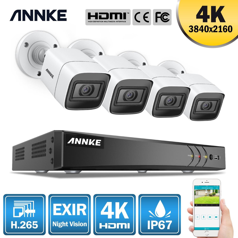 ANNKE 4K Ultra HD 8CH Video sistema de seguridad 8MP 5in1 H.265 DVR con 4 Uds 8MP al aire libre impermeable CCTV cámaras de vigilancia Kit
