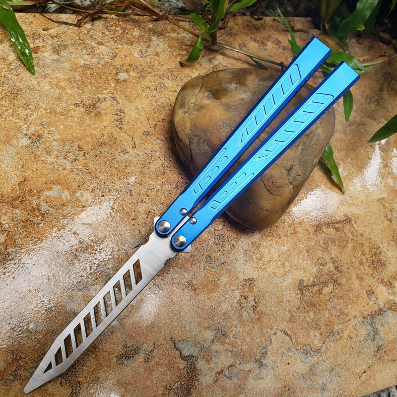 لا شارب سكين التدريب بليد TheOne فالكون فراشة ممارسة فلايل الأزرق في الهواء الطلق التخييم بقاء جيب السكاكين EDC أداة