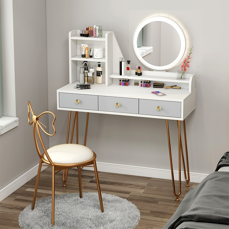 Новый легкий роскошный туалетный столик светодиодный светильник кой для спальни простой шкаф для хранения один маленький туалетный столик...