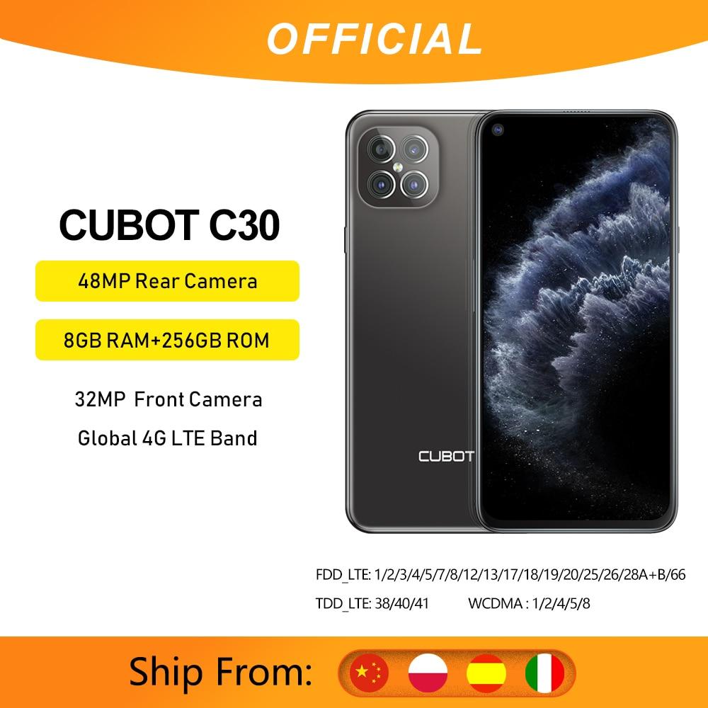 Перейти на Алиэкспресс и купить Cubot C30 смартфон 8 ГБ + 128/256 ГБ 48MP Quad Camera 32MP селфи Global 4 аппарат не привязан к оператору сотовой связи Helio P60 NFC 6,4 дюймFHD + безрамочный экран 4200 мАч Android 10...