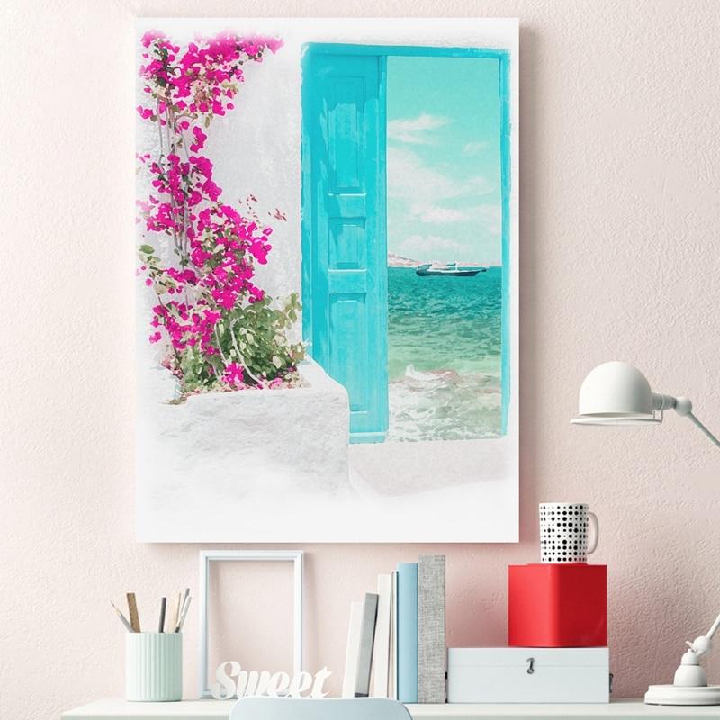 Santorini Aquarell Kunst Leinwand Malerei Blau Tor Griechischen Insel Strand Landschaft Poster Drucke Wand Bild Küsten Wohnkultur