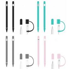 1 pièces souple Silicone Grip manchon support + 1 pièces Anti-perte câble de charge adaptateur attache + 2 pièces Nib couvre pour Apple crayon accessoires