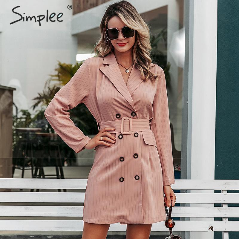 Simplee tarja Elegante sash belt mulheres vestido Outono inverno escritório ladies blazer vestido Double breasted blazer feminino vestido curto