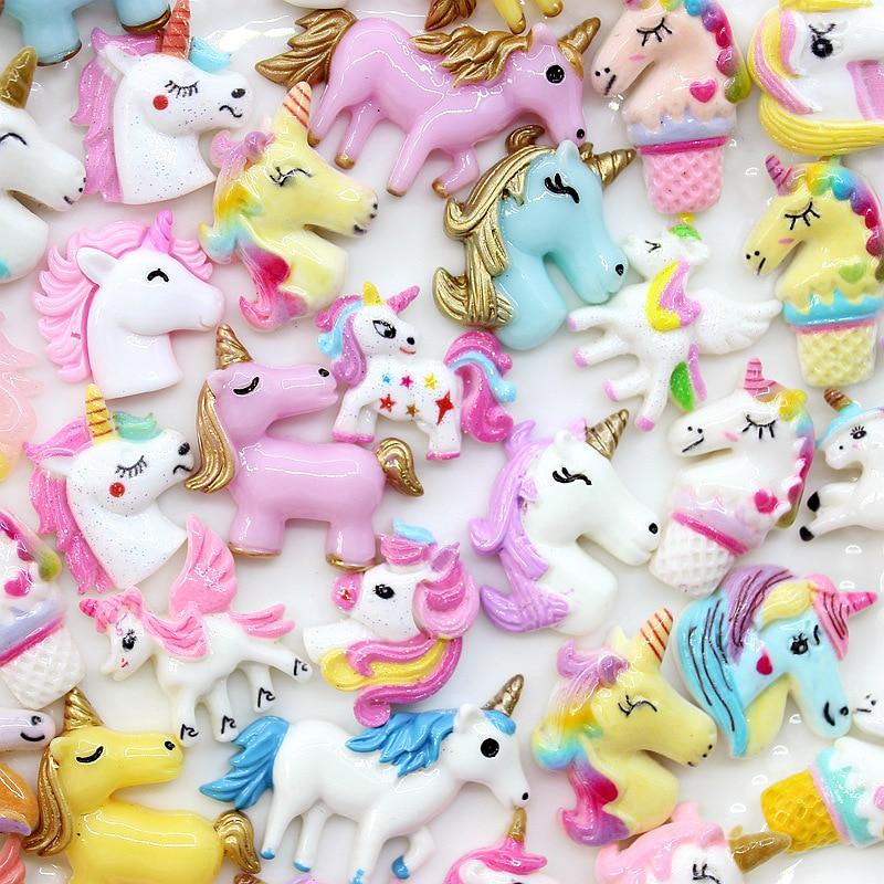 10-50Pcs Cute Unicorn Flatback Planar Resin Color DIY Crafts Supplies Arts Phone Shell Decor Material Hair Accessories Kids Toy