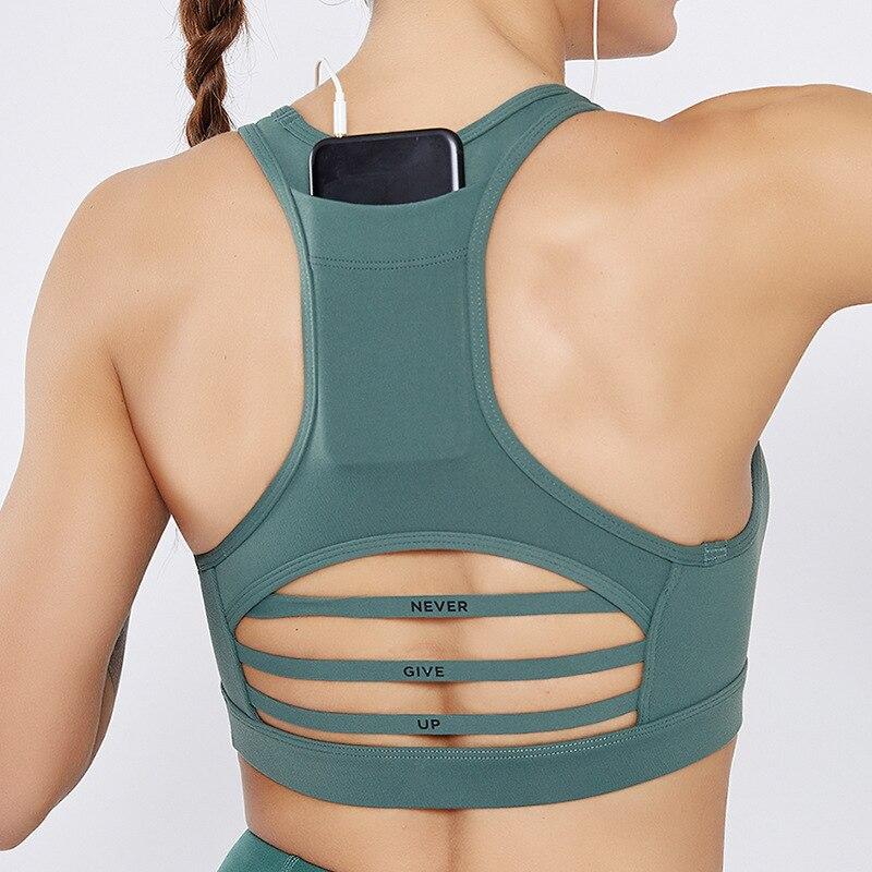 New Tops Women Sports Bra With Phone Pocket Compression Push Up Underwear Female Gym Fitness Running Yoga Printed Sport Bra XL