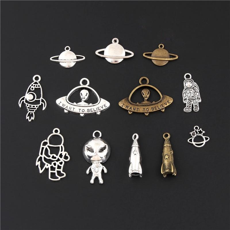 12pcs Mix Silver Color/Bronze Alien Rocket Space Explorer Charms Astronaut Earth Pendant Jewelry Making DIY Handmade M67