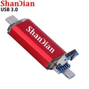 USB-флеш-накопитель SHANDIAN OTG 3 в 1, USB 128, Type-C и Micro USB, гб, 64 гб, 32 гб, 16 гб, 8 гб, 4 гб