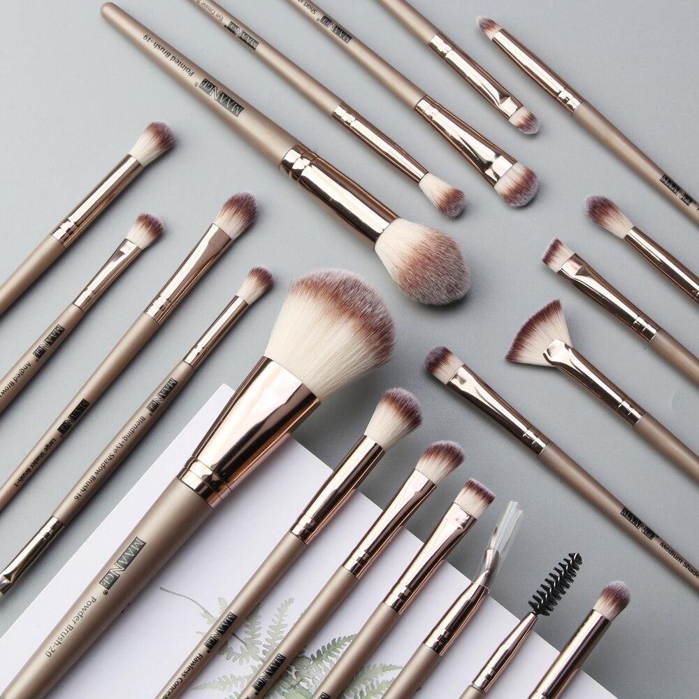 20 piezas-Juego de pinceles de maquillaje profesional, cepillo de base liquida, mango de madera, pelo sintético, suave maquillaje