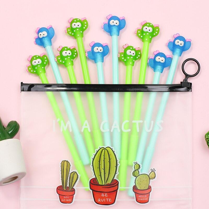 10Pcs/Pack Cute Plant Cactus Gel Pen Kawaii Anime Flower Koala Bear Flute School Kids Girl Novelty Office Stationery Kawai Thing