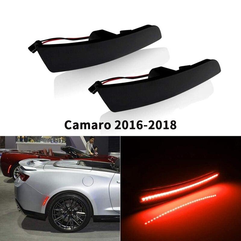 2 uds. Luces LED rojas de indicador lateral trasero de lente ahumada luz para parachoques Reflector para Chevy Camaro 2016-2018