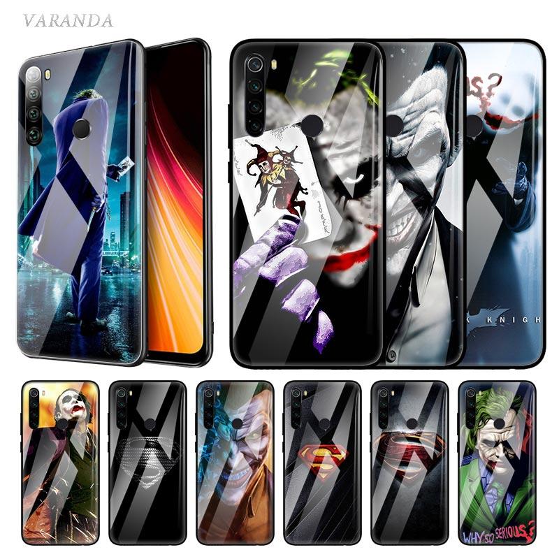 Joker Batman Glas Fall Für Xiaomi Redmi Hinweis 8T 9S 9 7 8 6 9A 9C 8A Mi a3 CC9 9T 10 Pro Gehärtetem Gehäuse Handy Coque Film Funda