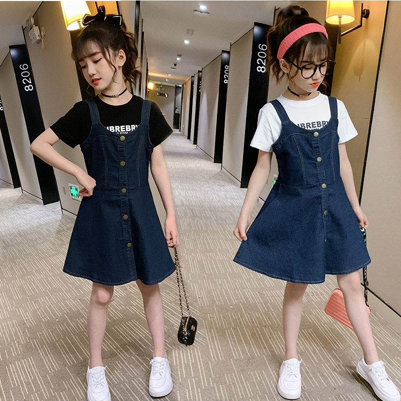 Children Clothing Little Girls Outfits 2021 Summer O-Neck Top + Denim Strap Skirt Fashion Two Piece Suit 10 12 Year Kids Costume