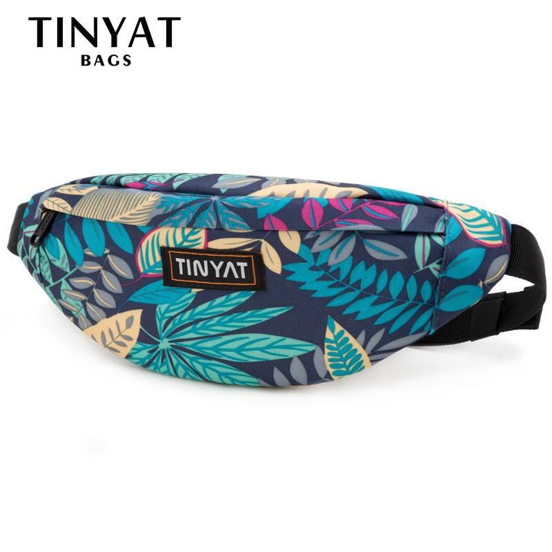 TINYAT New Men Belt Bag Maple Leaf Printing Banana Waist Bag Fanny Pack Women Men Outdoor Sports Bum Hip Bag Mobile Phone Pocket