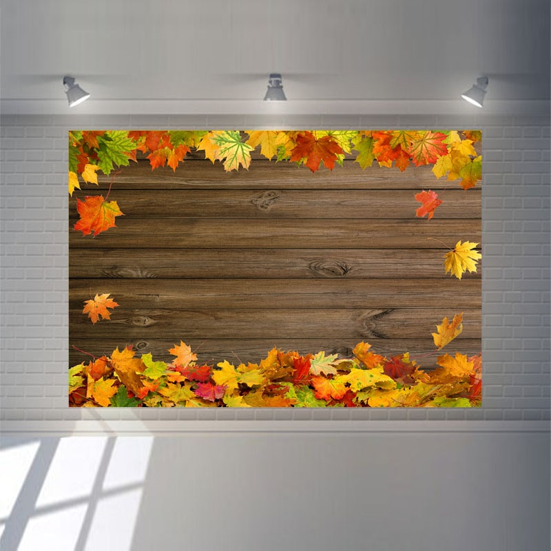 NeoBack Autumn Maple Leaf Rustic Wood Photography Backdrops Fall Baby Shower Backdrop Children's Birthday Party Photo Background enlarge