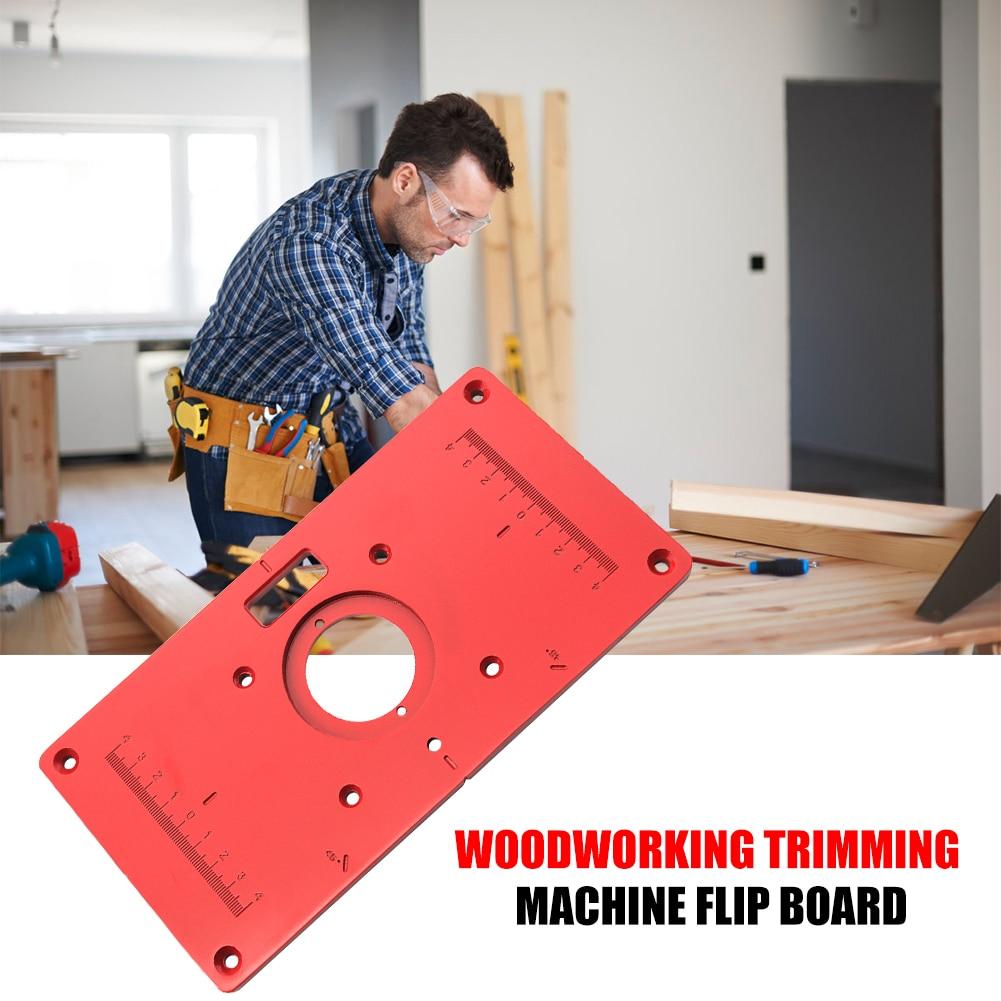 Placa de inserción de aleación de aluminio portátil de madera con tapa abatible para máquina de recorte de madera