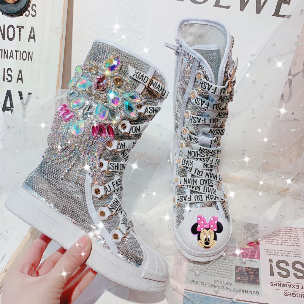 أحذية ديزني للأطفال برسومات كرتونية للأميرة ميني حجر الراين طويلة التمهيد للحفلات والرقص أحذية مطرزة عالية الأنبوب