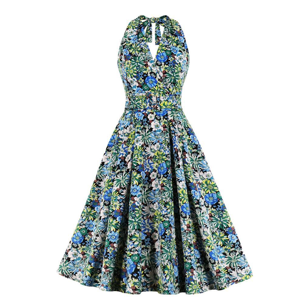 SISHION mujer Sexy escote Halter vestido de verano sin mangas Pin Up vestido Vintage Floral imprimir una línea elegante vestidos para SP1127