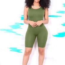 Femmes body nouveau couleur unie été sans manches décontracté moulante Jumosuit Femael mince Fitness Shorts combinaison Femme barboteuses chaude