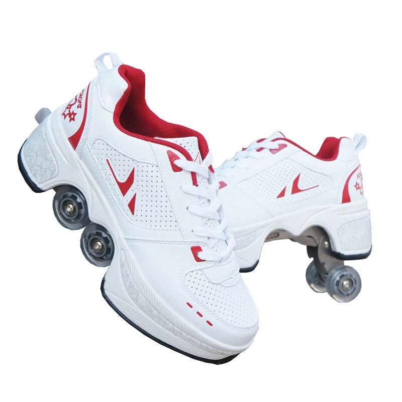 أحذية رياضية مع زلاجات, أحذية رياضية غير رسمية أحذية المشي + الزلاجات الداخلية للبالغين الرجال النساء للجنسين والزلاجات أربع عجلات