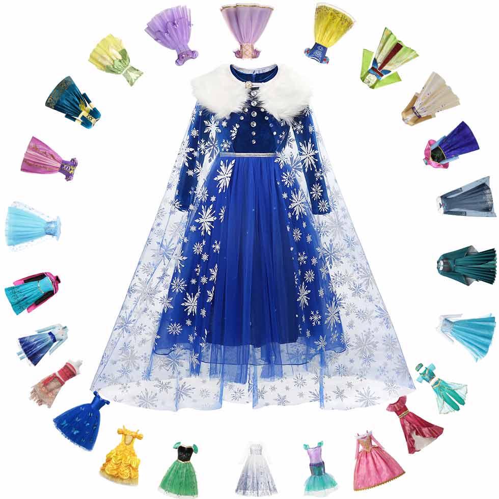 Disney Princess Elsa Winter Dress Girls Long Sleeve Frozen 2 Queen Anna Costume Children Cinderella Rapunzel Tiana Mulan Cosplay