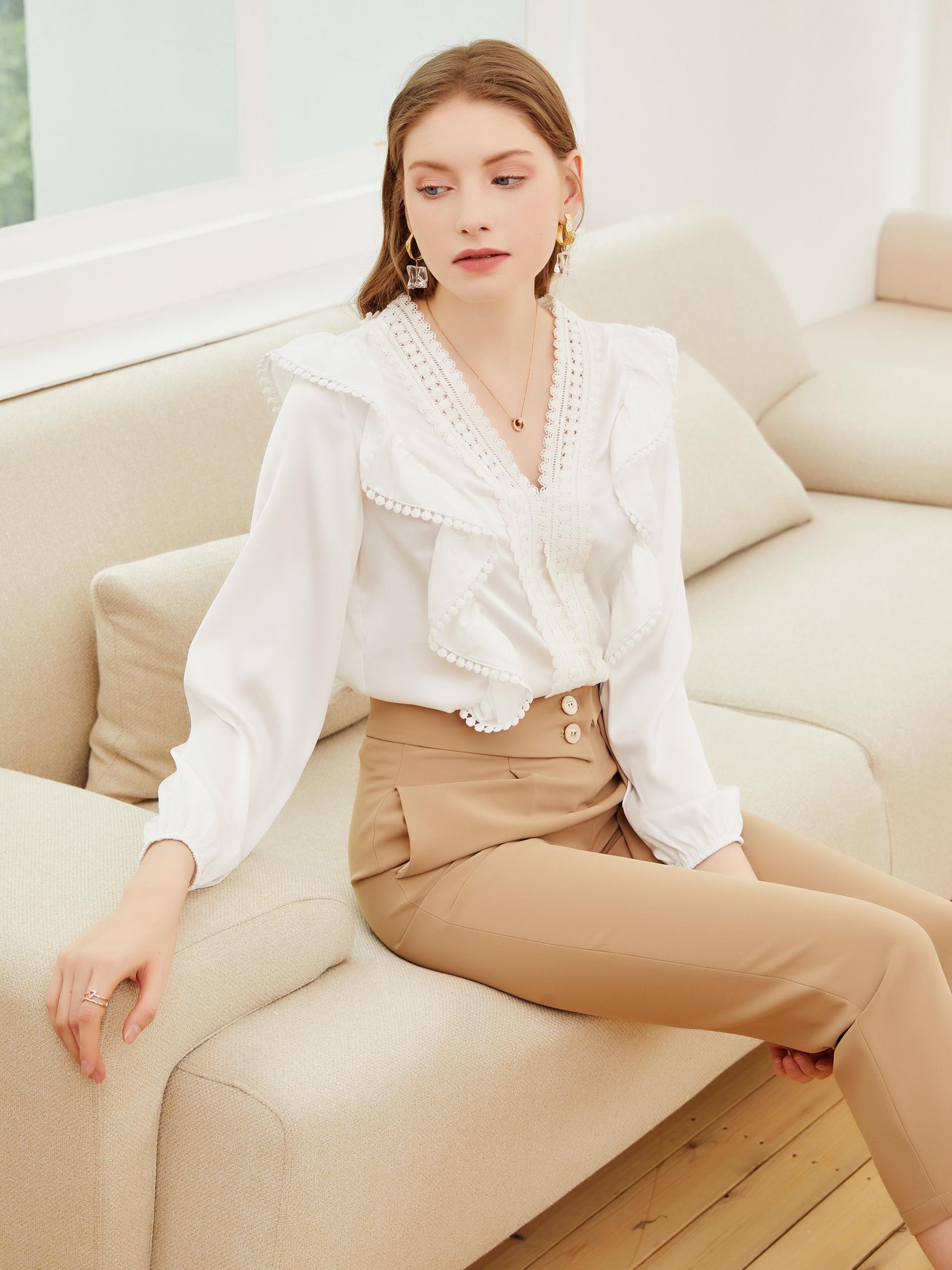 2021 spring and summer new style shirt personality splicing chiffon shirt fashion Ruffle water solub