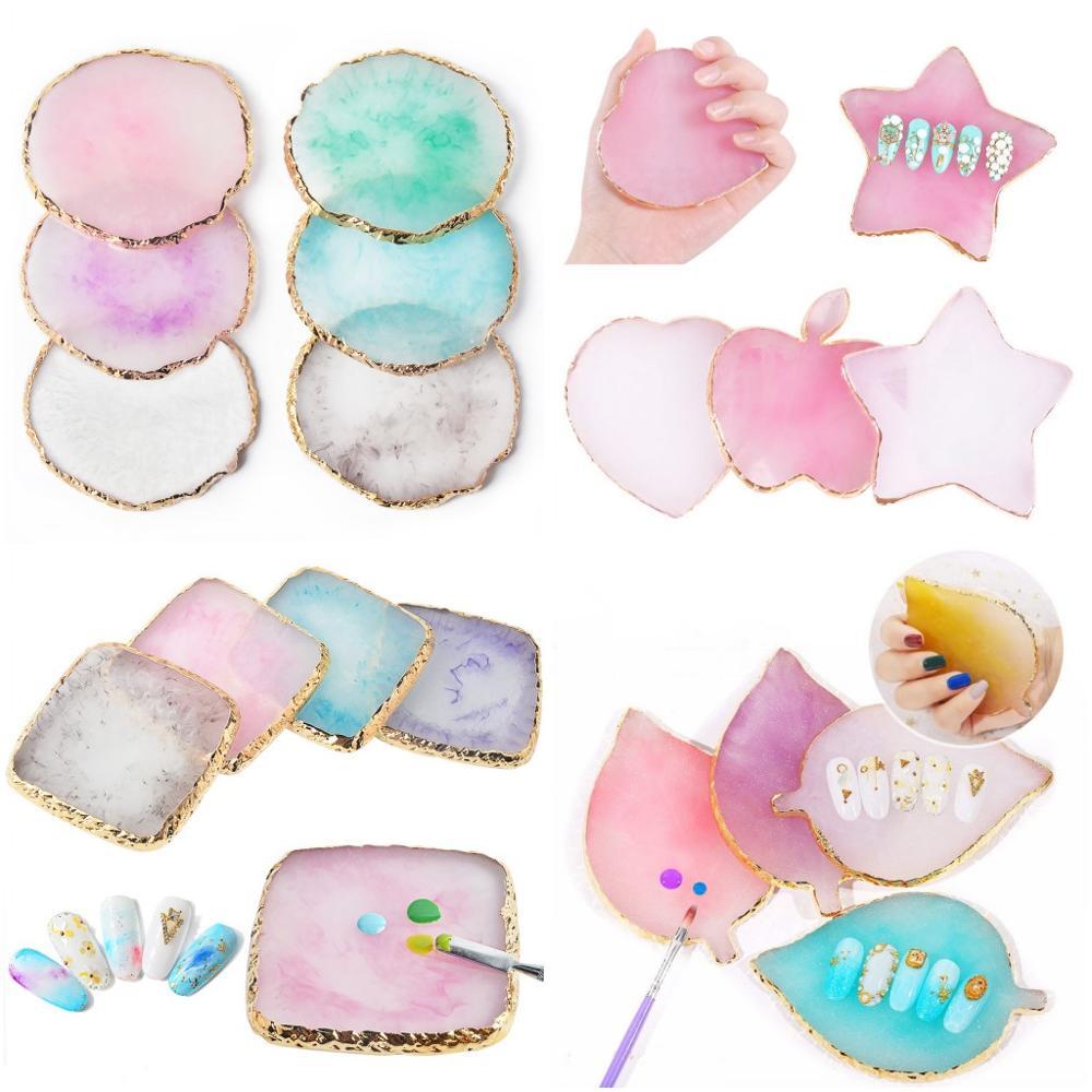 1 x paleta de colores de piedra de resina, puntas falsas para uñas, estilos de 24 para mezclar colores paleta de colores, muestra, herramienta de Gel para manicura y esmalte P06