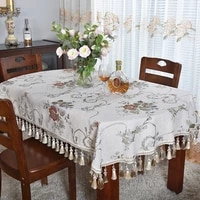 elegant thick chenille beige oval tablecloth for table decoration dining room new year decor quality table clothes with tassels