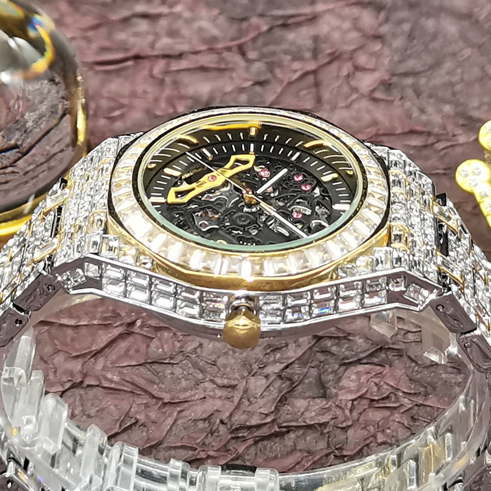 Top Hip Hop MISS FOX Hollow Mens Watches Automatic Mechanical Watch Iced Out Fashion Gold Diamond Male Luxury Tourbillon Clocks enlarge